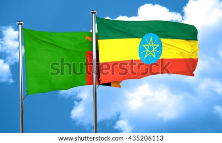 Zambia flag with Ethiopia flag, 3D rendering  - stock photo
