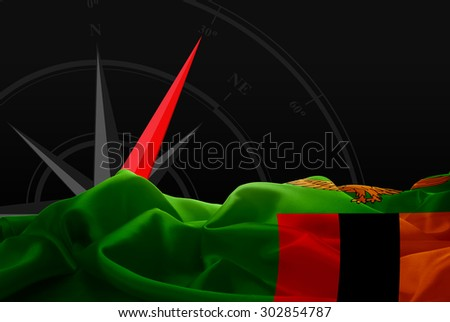 Zambia High Resolution flag and Navigation compass in background - stock photo