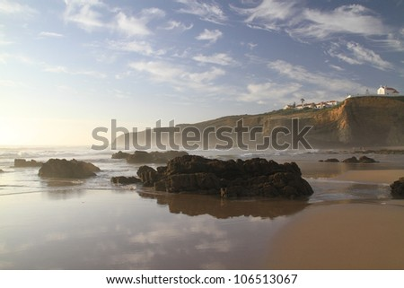 Zambujeira do Mar Beach water line, Alentejo, Portugal - Nominated for one of the wonders of Portugal in the category of Urban Beach - stock photo
