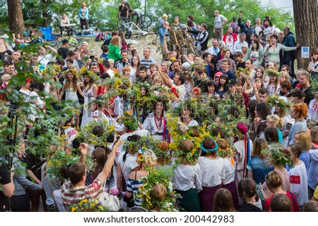 ZAPORIZHIA, UKRAINE-JUNE 21: Celebrating Kupala Night 21, 2014 in Zaporizhia, Ukraine. Celebration of pagan Slavic holiday Kupala Night - stock photo