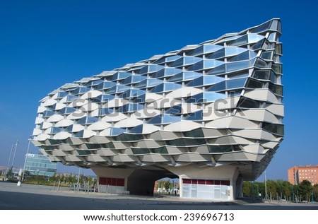 ZARAGOZA, SPAIN, NOVEMBER 1, 2014: In 2008 zaragoza hosted world exhibition expo and this period commemorate buildings of pavillions in exhibition area. - stock photo