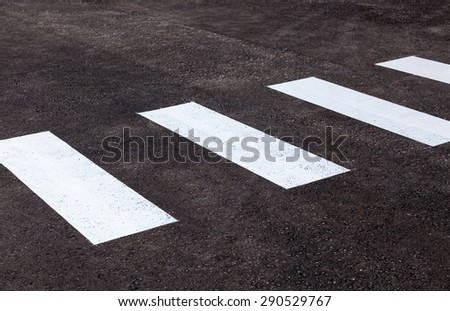 Zebra crossing with white marking lines on asphalt - stock photo