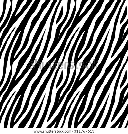 Zebra skin repeated seamless pattern. Black and white colors. 2x2 sample. - stock photo