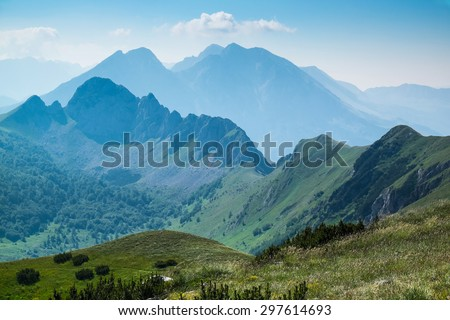 Zelengora mountains, view from Ugljesin peak  - stock photo