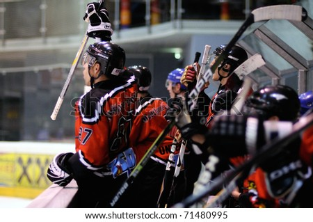 ZELL AM SEE, AUSTRIA - FEB 13: Salzburg hockey League. Schuttdorf bench celebrating goal. Game SV Schuttdorf vs HCS Morzg  (Result 9-3) on February 13, 2011 at the hockey rink of Zell am See - stock photo