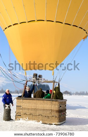 ZELL AM SEE, AUSTRIA - JAN 26: BP Gas Balloon Trophy 2010. 47 Balloon pilots of seven nations starting for the international balloon trophy on January 26 2010 in Zell am See, Austria. - stock photo