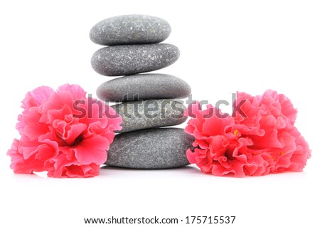 Zen And Spa Stone With Hibiscus Flower Over White Background  - stock photo