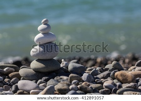 Zen Balancing Pebbles Stone Stack Tranquil Concept - stock photo