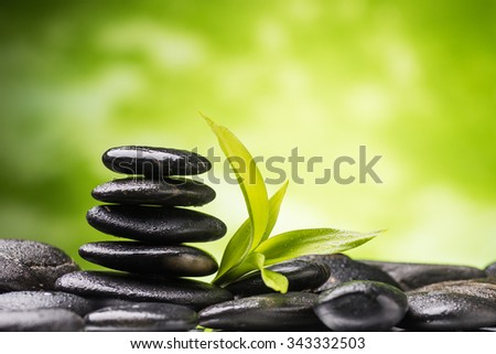 zen basalt stones and bamboo  - stock photo