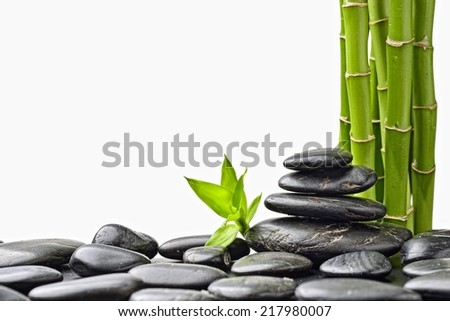 zen basalt stones and bamboo isolated on white - stock photo