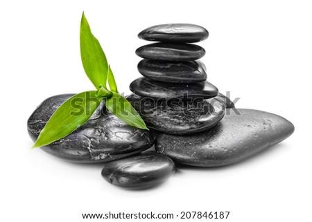 zen basalt stones and bamboo on the white - stock photo