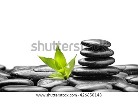 zen basalt stones and bamboo on the white bacground - stock photo