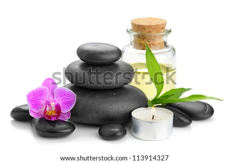 zen basalt stones and orchid - stock photo