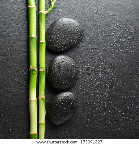 zen basalt stones with dew  - stock photo
