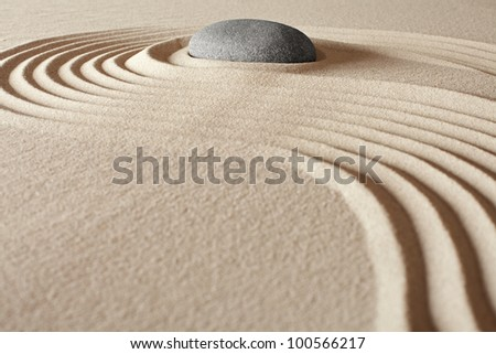 zen buddhism meditation and relaxation japanese garden concept for balance harmony and purity pebble and sand in pattern - stock photo
