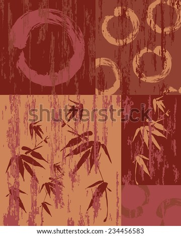 Zen circle and bamboo silhouette over vintage wood patchwork poster background. Useful for decorative art or textile print pattern. - stock photo