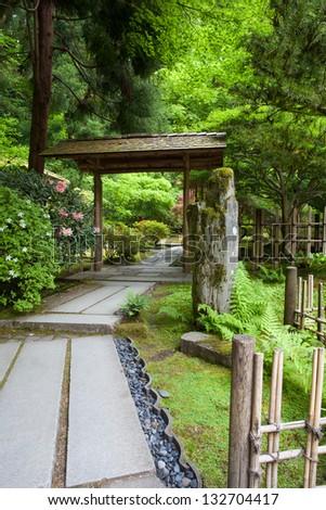 Zen Garden and Portland Japanese Garden - stock photo