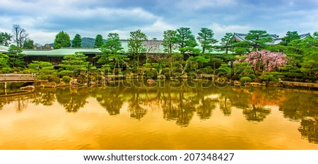 Zen Garden of the Heian-jingu Shrine in Kyoto, Japan - stock photo