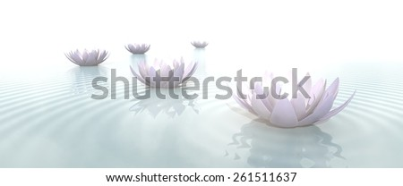 Zen lotus flowers in water with ripples on blurred background - stock photo