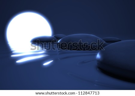 Zen moon glows on  stones in the water in night background - stock photo
