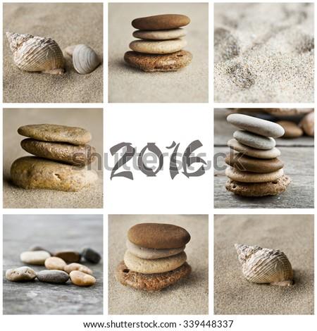 zen pebbles collage 2016  - stock photo