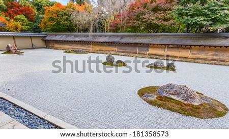 Zen Rock Garden at Ryoanji Temple in Kyoto  - stock photo