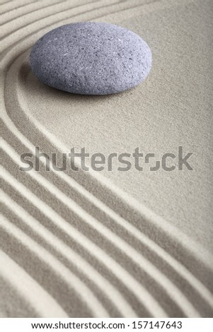 zen sand stone garden japanese meditation relaxation and spa image spiritual balance round rock - stock photo