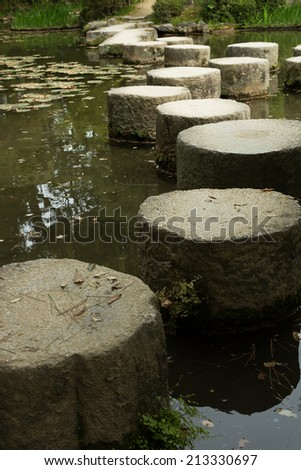 Zen stone path in a Japanese garden near Heian Shrine - stock photo