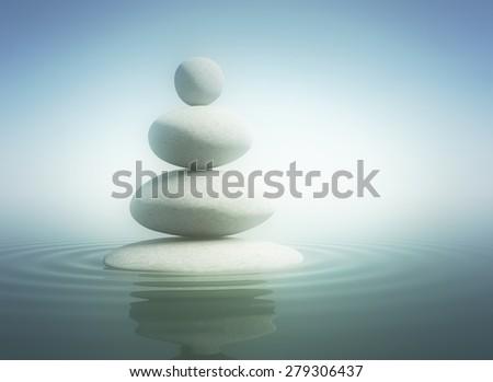 Zen stones in balance - stock photo