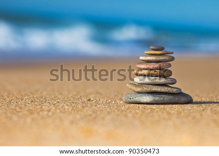 Zen Stones on the beach - stock photo