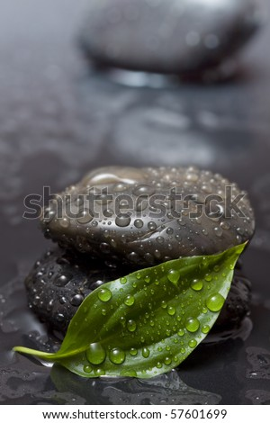 Zen stones with waterdrops behind a green leaf - stock photo