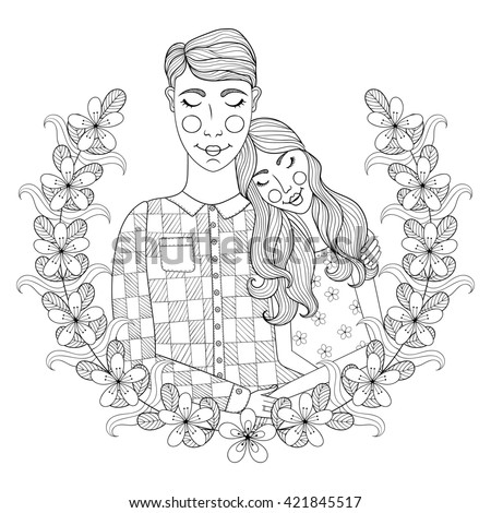 Zentangle Hand drawn lovely Couple for adult antistress coloring pages, post card, t-shirt print, Wedding invitation. Groom and bride illustration with flowers. Doodle style, tattoo monochrome design. - stock photo