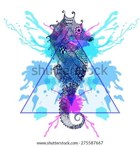 Zentangle stylized Sea Horse  in triangle frame with watercolor ink drop. Hand Drawn doodle  illustration. Sketch for tattoo. Animal and sea collection.  - stock photo