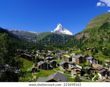Zermatt Switzerland, green car-free city - stock photo