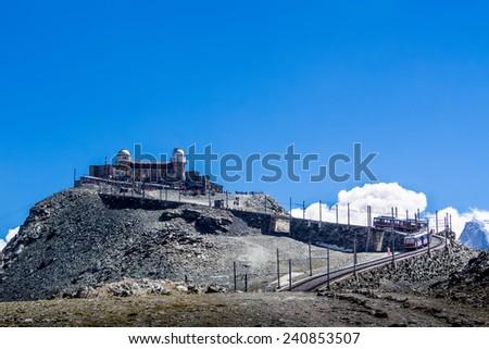 Zermatt, Switzerland. It can be reached by Gornergrat rack railway, the highest open-air railway in Europe. - stock photo