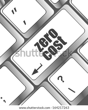 Zero Cost keyboard Keys Show Analysis And Value Of An Investment, raster - stock photo