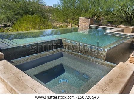 Zero horizon swimming pool - stock photo