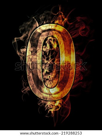 zero, illustration of  number with chrome effects and red fire on black background - stock photo
