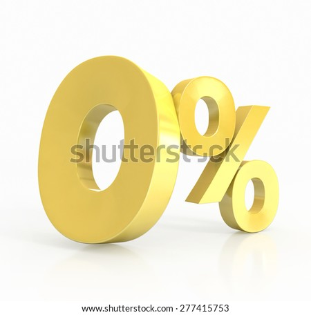 zero percent of gold. 3d illustration - stock photo