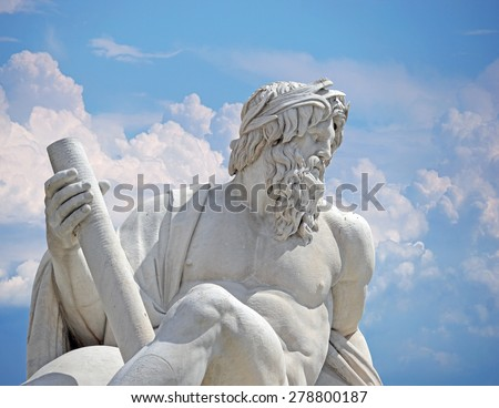 Zeus against blue sky, detail of Italy Rome Navona square four rivers fountain Rome - stock photo