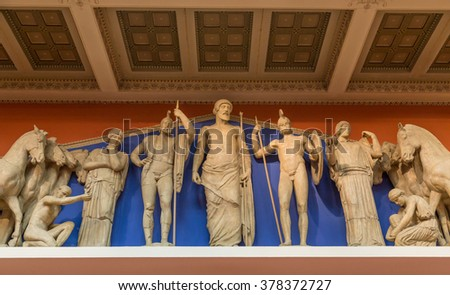 Zeus, Athena and other ancient Greek gods - stock photo