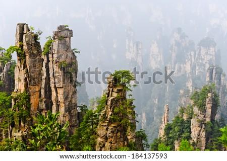 Zhangjiajie National Park in summer, Hunan province, China - stock photo