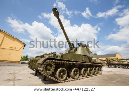 ZHITOMIR, UKRAINE - MAY 23, 2016 : Russian battle tank close up: self-propelled armored artillery old howitzer 152mm howitzer 2C3 Akacia - stock photo