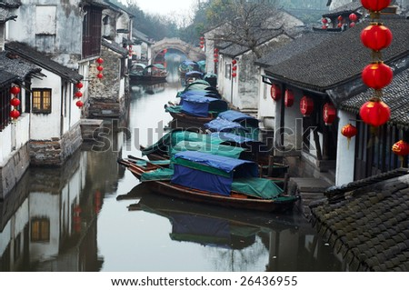 Zhouzhuang ancient Water town near Shanghai, on Chinese Spring Festival 2007 - stock photo