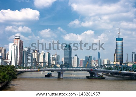 Zhujiang River and modern building of financial district in guangzhou china - stock photo