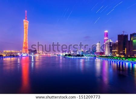 Zhujiang River and modern building of financial district in guangzhou china. - stock photo