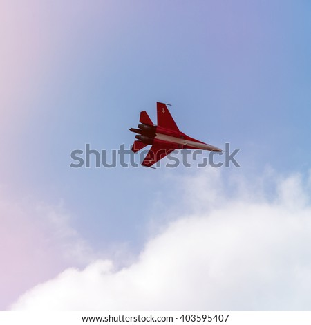 """ZHUKOVSKY, MOSCOW - AUG 16: Russian fighter aircraft MIG-29 at """"AirShow Furious 2014"""" on August 16, 2014 in Zhukovsky, Moscow region, Russia - stock photo"""
