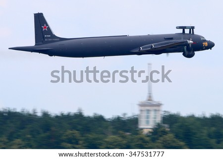 ZHUKOVSKY, MOSCOW REGION, RUSSIA - JUNE 30, 2015: New Ilyushin IL-38N makes first flight in Zhukovsky, Moscow region, Russia - stock photo