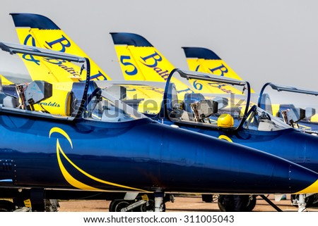 ZHUKOVSKY, RUSSIA - AUG 27, 2015: Aircraft aerobatic team Baltic Bees at the International Aviation and Space salon MAKS-2015. Parking aircraft Ramenskoye airfield - stock photo