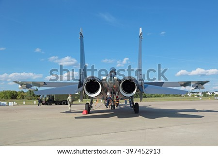 ZHUKOVSKY, RUSSIA - AUG 23, 2015: Russian two-seat, twin-engine supermaneuverable multirole fighter Sukhoi Su-30 SM (Flanker-C), rear view at the International Aviation and Space salon MAKS-2015 - stock photo